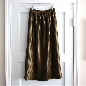 Moussy Olive Pleated Midi Skirt